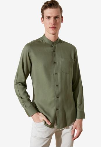 Trendyol green Khaki Viscose Shirt ECCEFAA1F87CCCGS_1