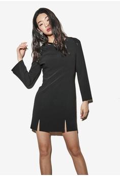 NAIN black Slit Pencil Dress C8919AA935093BGS_1