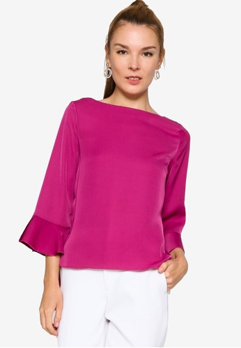 ZALORA WORK purple Fluted Sleeves Curve Hem Top DB39FAA257D5D1GS_1