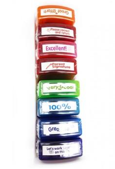 Teacher Parents Motivational Stamps Set kit Assorted Phrases