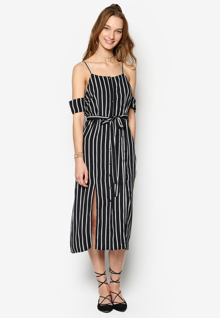 Love Cold Shoulder Dress With Double Front Slits