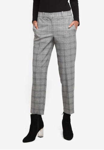 TOPSHOP grey Checkered Tapered Leg Suit Trousers TO412AA0ROVIMY_1
