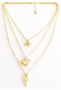 Layered Heart Cross Necklace