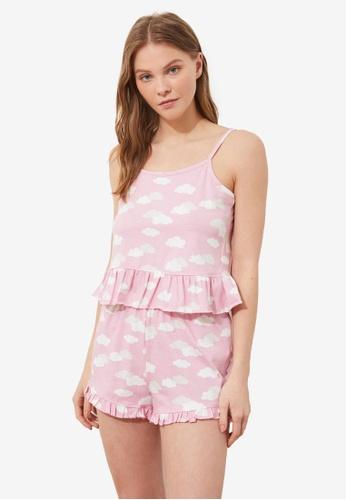 Trendyol 粉紅色 Cloud 睡衣組 CE54DAAAF99D97GS_1