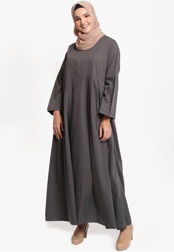 JV Hasanah grey Faiza Rample Dress 230BEAAD9B3DD8GS_1