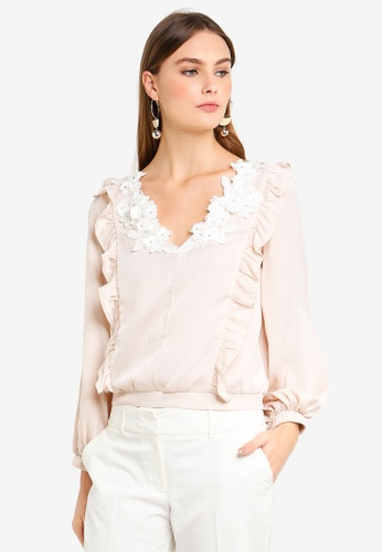 bYSI white and beige Embroidered Flower V-Neck Blouse F81D5AA3BA91A4GS_1