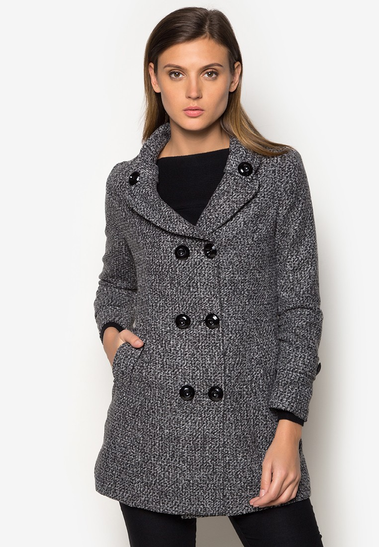 Petite Textured Wool Short Trench