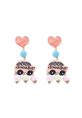 La Miina pink Billie Bus Cartoon Pink Earrings B7258AC0A2BE5CGS_1