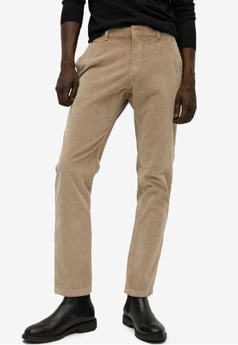 Mango Man beige Denim-Effect Corduroy Trousers A50D3AA0D5F9FFGS_1
