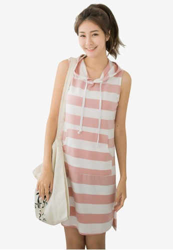 Tokichoi pink Casual Striped Hooded Dress 4B254AA3F5B102GS_1