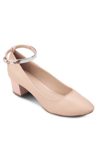 zalora 手錶繞踝粗跟淑女鞋, 女鞋, 鞋