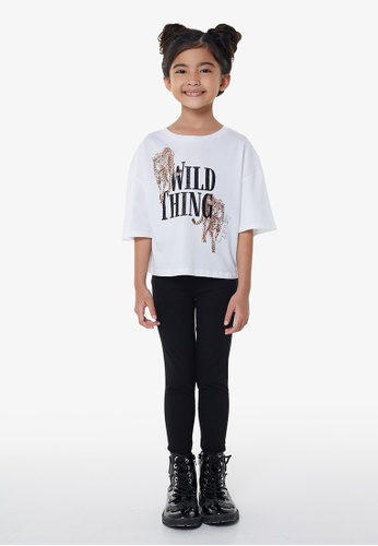 Gen Woo white White Wild Thing Slogan Cropped T-shirt by Gen Woo A26BEKA22C9CA8GS_1