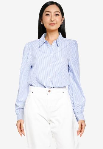 ONLY white Betty Puff Sleeve Slim Stripe Shirt B69E4AA6257452GS_1