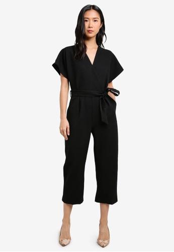 CLOSET black Wrap Over Tie Front Jumpsuit CL919AA0S6HLMY_1