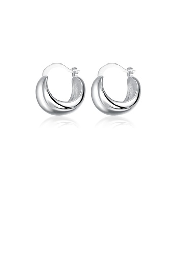 Glamorousky silver Fashion Simple Geometric Semicircle Earrings C93D9ACB7971ECGS_1