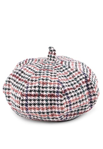 Urban State pink Houndstooth Beret 99648AC5D7A46AGS_1