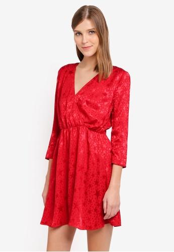 Miss Selfridge red Star Jacquard Wrap Dress MI665AA0STCEMY_1