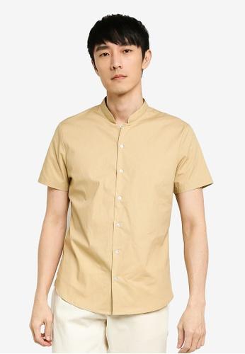 ZALORA BASICS brown Mandarin Collar Shirt 84D27AA30D8566GS_1