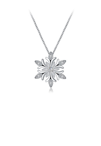 Glamorousky white Fashion Snowflake Pendant with Cubic Zircon and Necklace AFEE1AC583440AGS_1