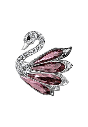 Her Jewellery LUVEA - Elegant Crystal Swan Brooch (Antique Pink, White Gold) by Her Jewellery E2068AC81973E8GS_1