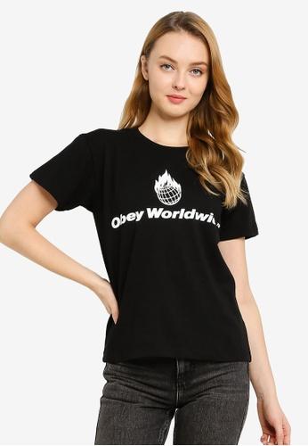 OBEY black Obey Worldwide Flame T-Shirt 1DAF4AA5D5FF6CGS_1