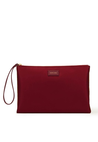 Gnome and Bow red and beige and brown Abbey Clutch (Reversible) 08F8CACF5EB631GS_1