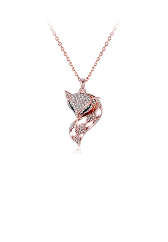 Glamorousky white Fashion Plated Rose Gold Fox Pendant with Austrian Element Crystal and Necklace E7B90AC8C79C44GS_1
