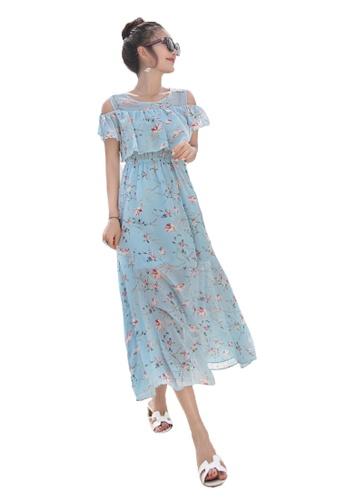 Halo blue Printed Cold Shoulder Chiffon Beach Dress F6D80AABBB06F8GS_1