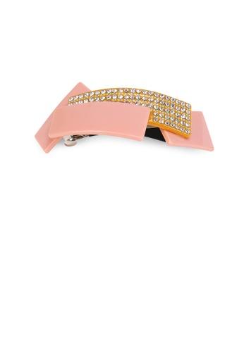 Glamorousky white Fashion Temperament Geometric Stitching Orange Hair Slide with Cubic Zirconia BB365AC77E6319GS_1