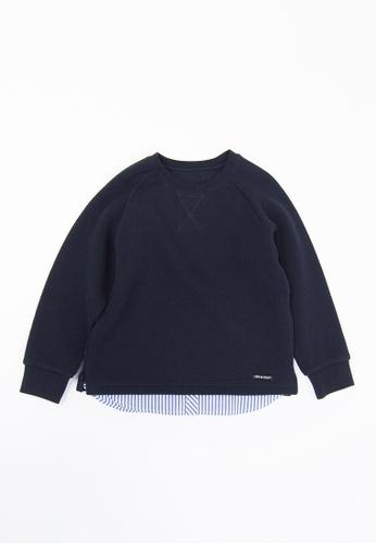 HÄP & CRAFT navy Layered Knitted Sweatshirt 6DE0EKAC4C503BGS_1