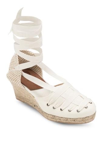 Vilabesprit hk storeoa 交叉多帶麻編楔型跟涼鞋, 女鞋, 鞋