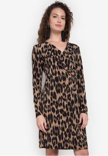 Joe Fresh brown V-neck Wrap Dress JO088AA0K86XPH_1