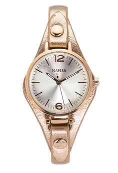 Nafisa Women's Round Dial Leather Strap Watch