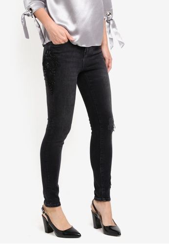 Dorothy Perkins black Darcy Lace Applique Ankle Grazer Jeans DO816AA0ST1BMY_1