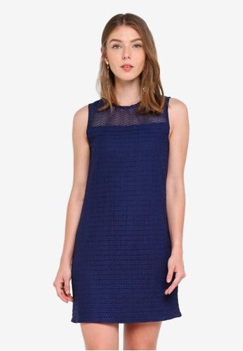 ZALORA navy Lace Yoke Dress 47A8BAA77030BEGS_1