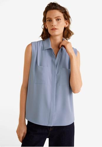 MANGO blue Sleeveless Shirt BF996AA00C8ABEGS_1