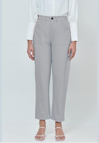 MC Vogue grey Emily Grey Cotton Straight Pants BF027AA6607FD5GS_1