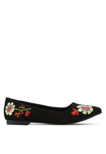 Nose black Embroidery Flat Pumps NO327SH0RC8XMY_1