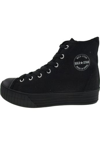 Maxstar 黑色 新款韩国鞋C30-7H-Solid時尚帆布布混合女黑色 US Women Size MA345SH97HEWTW_1