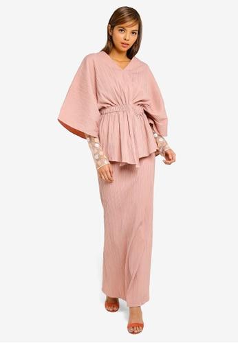 Iris Wrap Kurung from AfiqM in Pink