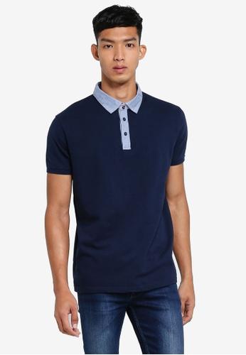 OVS blue Colored Collar Polo Shirt 90E6FAAB63C4CAGS_1
