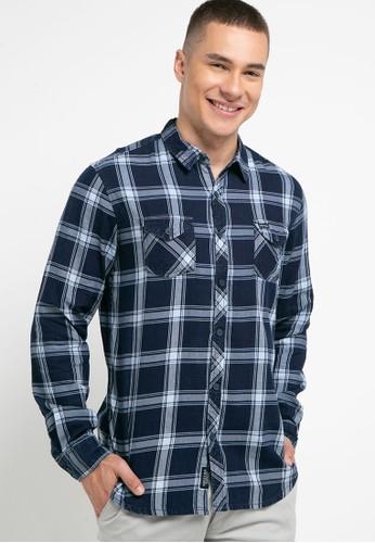 Cressida navy Indigo Checked Shirt F8F57AA56B538EGS_1