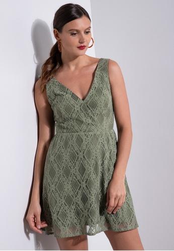 ZALORA OCCASION green Lace Sweetheart Fit & Flare Dress 4DE7DAA0CE0860GS_1
