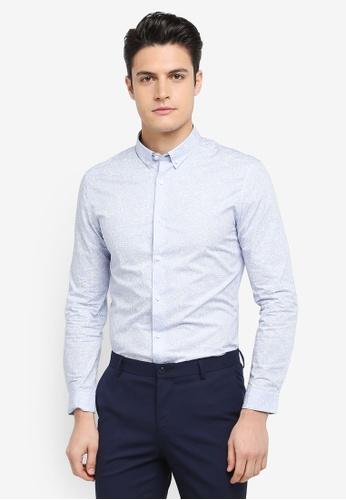 G2000 blue Irregular Line Print Long Sleeve Shirt 94B99AAD3D7EB5GS_1