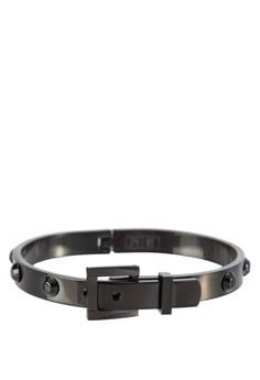 Premium-Stainless Steel Men'S Cuff Bracelet With Flat Studs