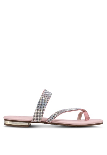 prettyFIT pink Crystal Toe Ring Sandals A7FC4SH121007FGS_1