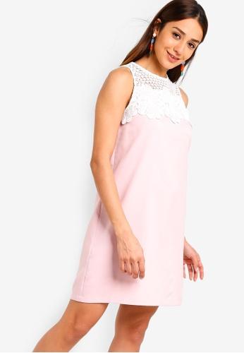 ZALORA white and pink Lace Colour Blocking Shift Dress BB9F8AAC13320BGS_1