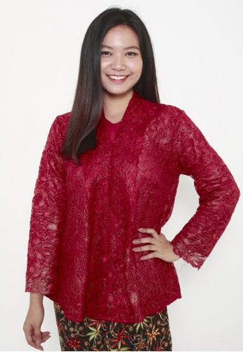 Naphthys Collection red Briana Lace Kebaya Blouse DDC06AAE2FA1B7GS_1