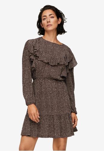 Mango brown Ruffled Printed Dress 5A136AA0E45892GS_1