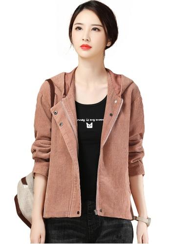A-IN GIRLS pink Loose Corduroy Hooded Jacket 3B3B3AAF8005D1GS_1